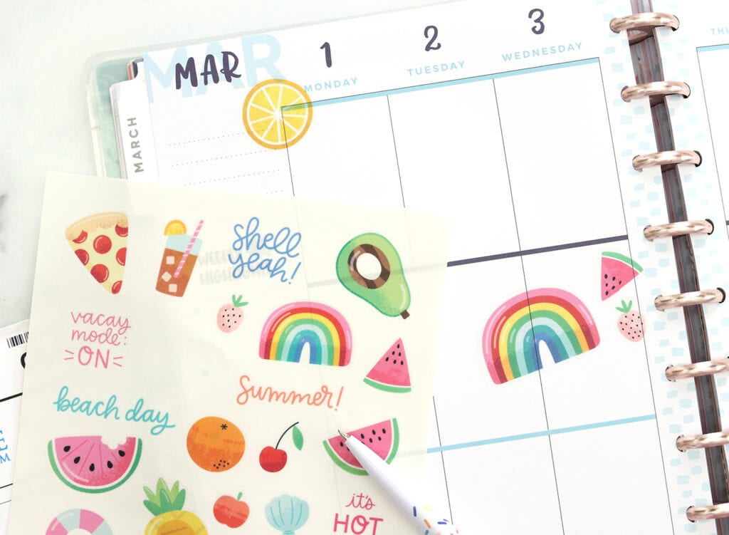 The Best Clear printable sticker paper used in a planner